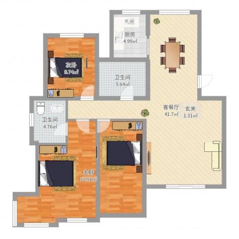 翠湖天地2室2厅2卫1厨125.00㎡户型图