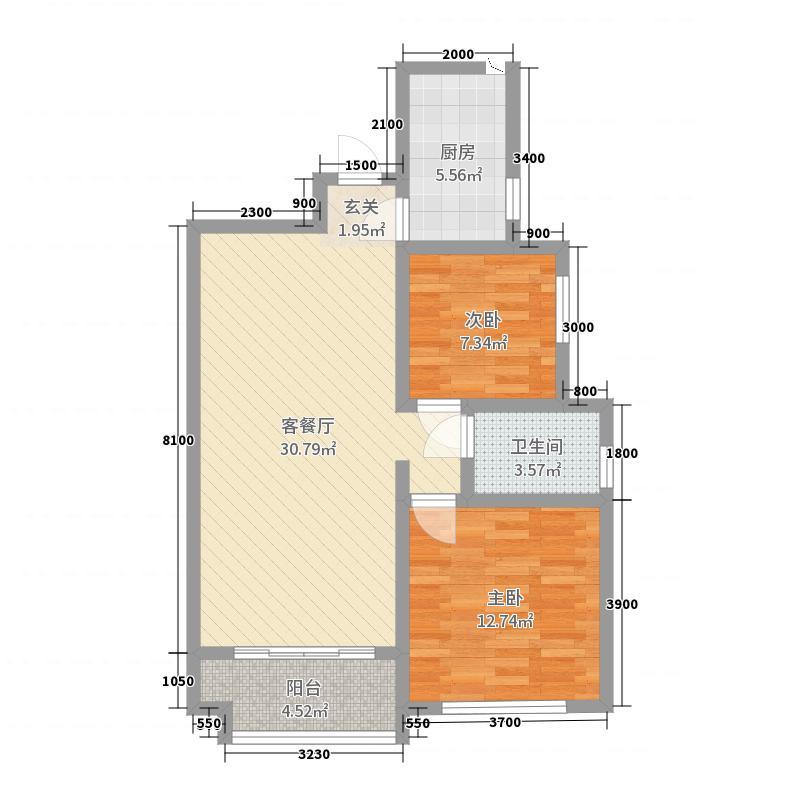 宫园中央88.00㎡B户型2室2厅1卫1厨