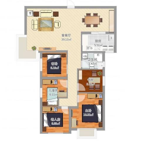 未来海岸蓝月湾5室2厅1卫1厨104.00㎡户型图