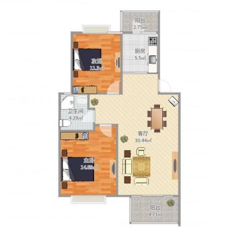 荣和怡景园2室1厅1卫1厨92.00㎡户型图