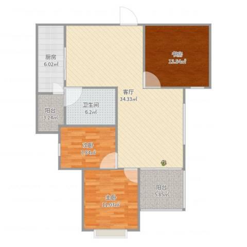 恒大都市广场3室1厅1卫1厨110.00㎡户型图