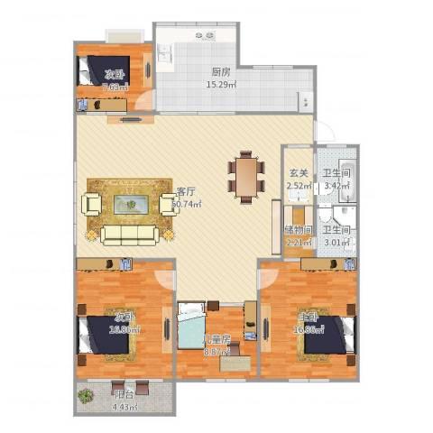 永恒新村4室1厅2卫1厨165.00㎡户型图