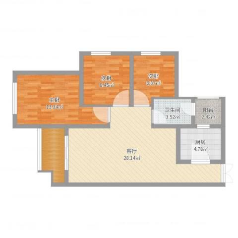 中盈瑞士小镇3室1厅1卫1厨89.00㎡户型图