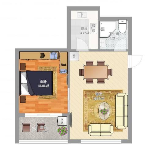 新河花园1室1厅1卫1厨55.00㎡户型图