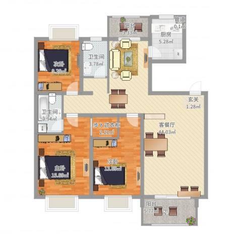 报业园3室2厅2卫1厨153.00㎡户型图