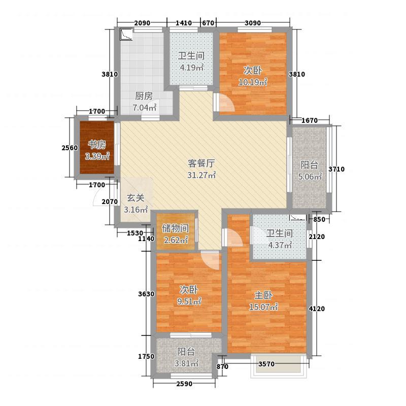 新城尚东区123.00㎡户型3室3厅2卫1厨