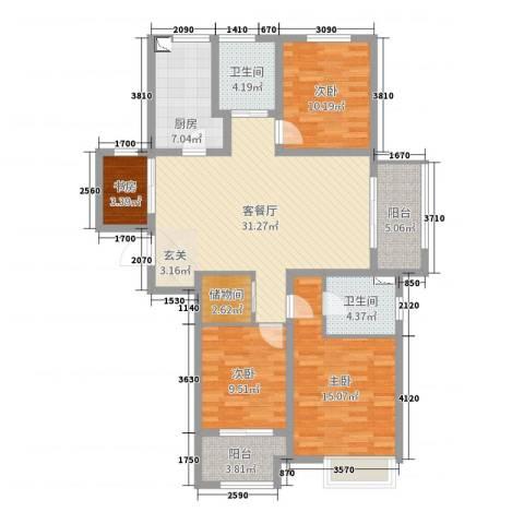 新城尚东区4室2厅2卫1厨123.00㎡户型图