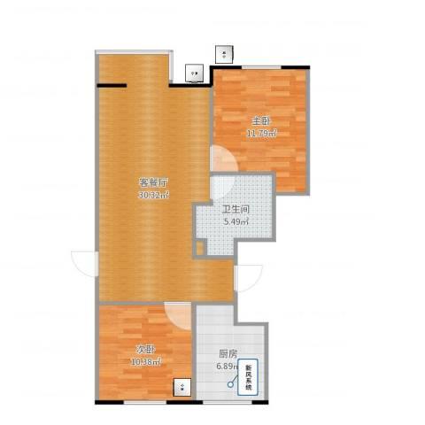 大兴区幸福家园2室2厅1卫1厨81.00㎡户型图