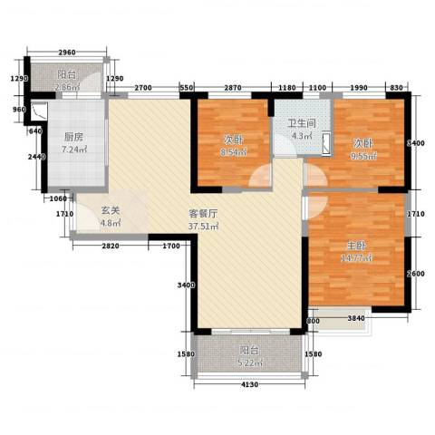 恒大绿洲3室2厅1卫1厨112.00㎡户型图