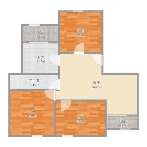 中星怡景花园3室1厅1卫1厨72.00㎡户型图