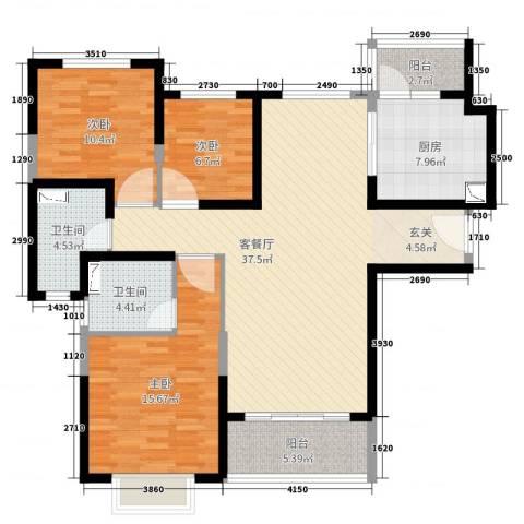 恒大绿洲3室2厅2卫1厨119.00㎡户型图