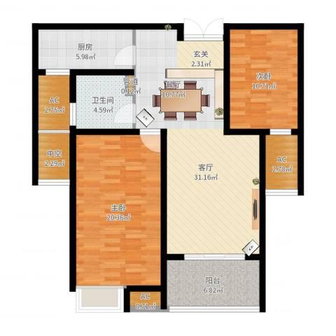 御景天成2室1厅1卫1厨110.00㎡户型图