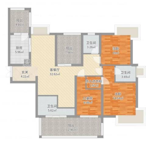 雅阁花园3室2厅3卫1厨139.00㎡户型图