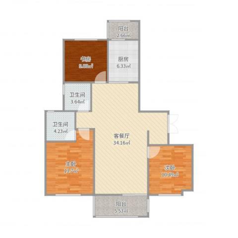 华邦国际3室2厅2卫1厨112.00㎡户型图