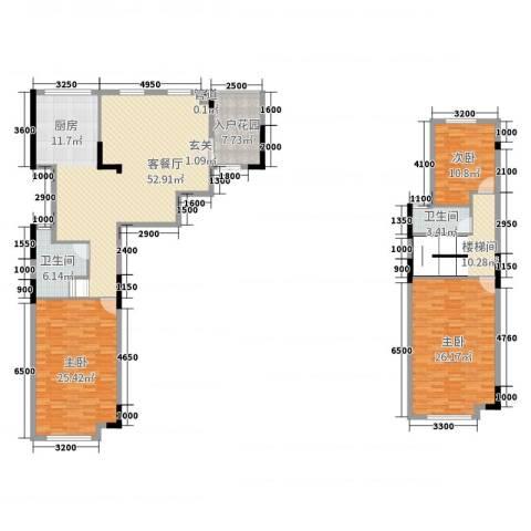 劲嘉金棕榈湾3室2厅2卫0厨172.00㎡户型图
