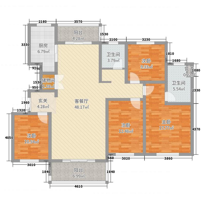 建业联盟新城159.00㎡户型4室4厅2卫1厨