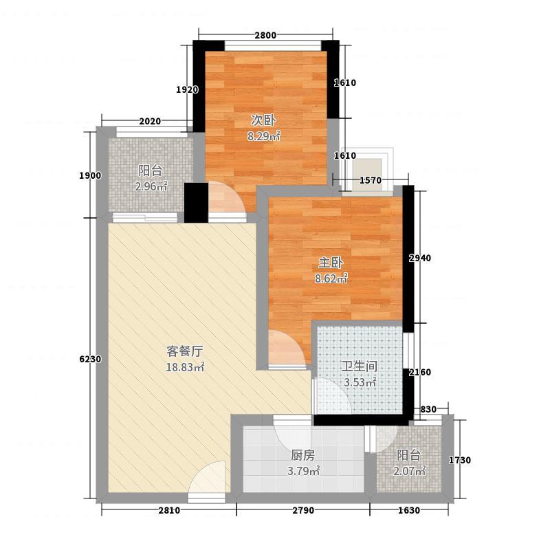 凰城华府61号楼F3户型50㎡及以下户型图大全_房型图 ...