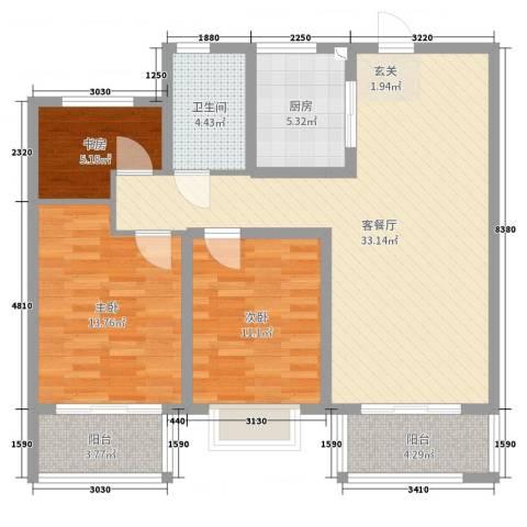 观澜盛世3室2厅1卫1厨101.00㎡户型图