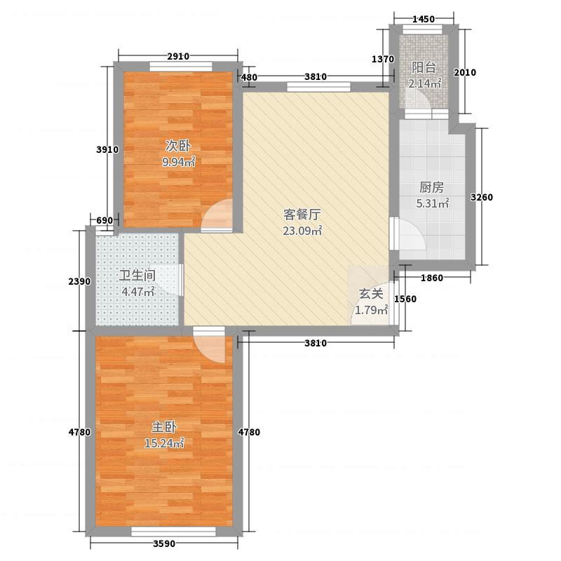 水岸东方88.00㎡二期11号楼1-25层F4户型2室2厅1卫1厨