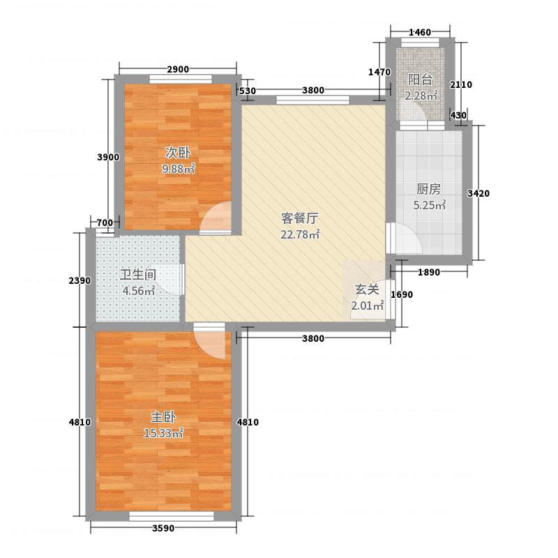 水岸东方96.00㎡11#、12#楼标准层F4户型2室2厅1卫1厨