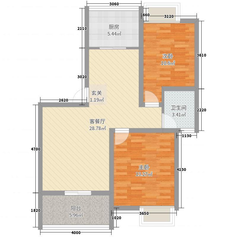 紫悦城81.65㎡6#楼F户型2室2厅1卫1厨