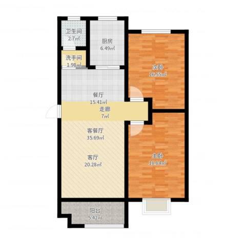 恒大名都2室2厅1卫1厨109.00㎡户型图