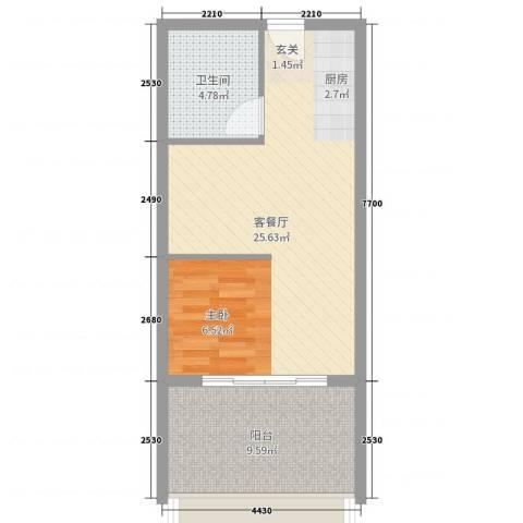 三亚・金棕榈2厅1卫0厨40.00㎡户型图