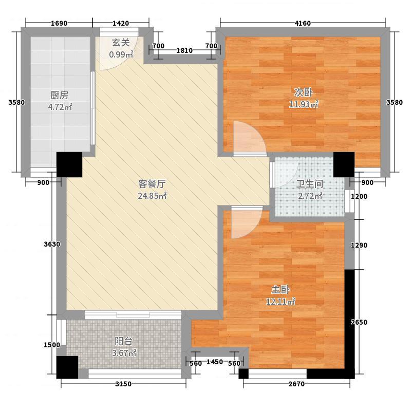 星湖湾74.96㎡4#B户型2室2厅1卫1厨