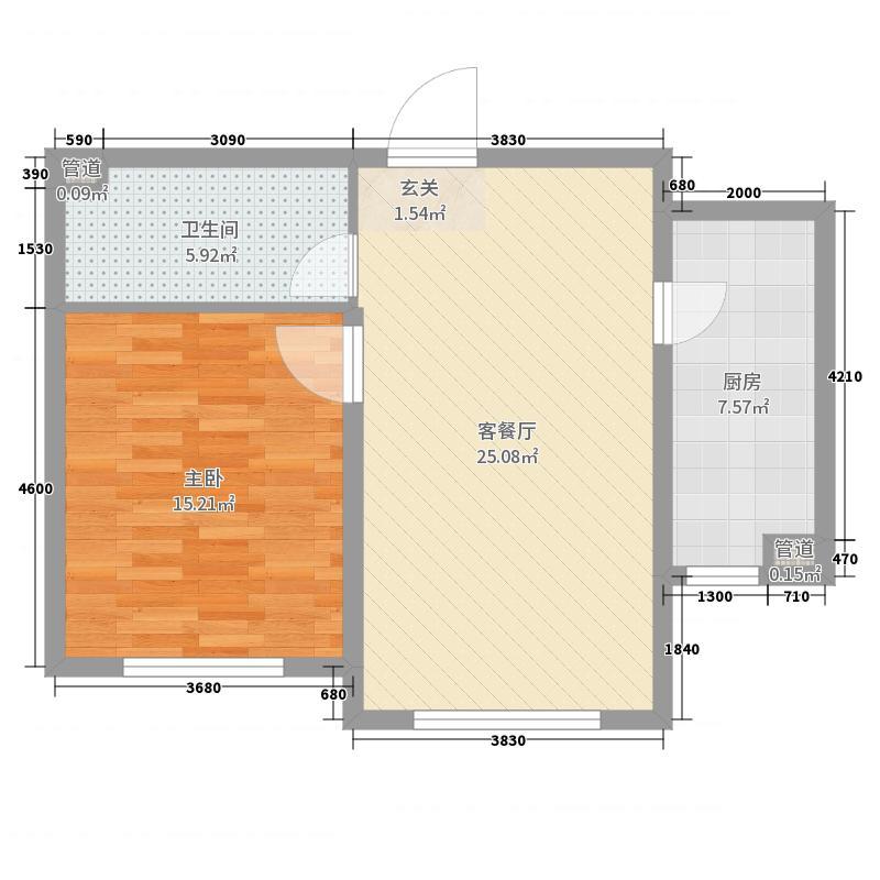 汇智五洲城66.85㎡A1'户型1室1厅1卫1厨