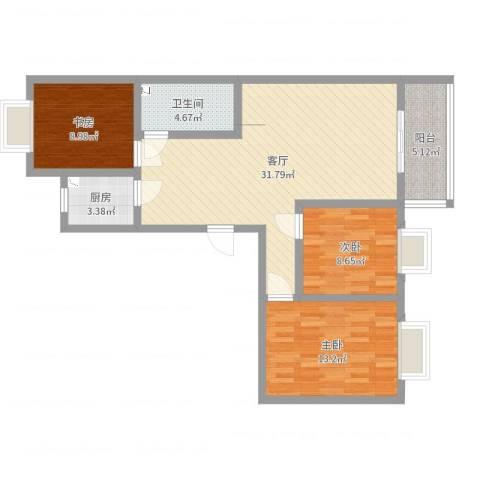 汇源华庭3室1厅1卫1厨95.00㎡户型图