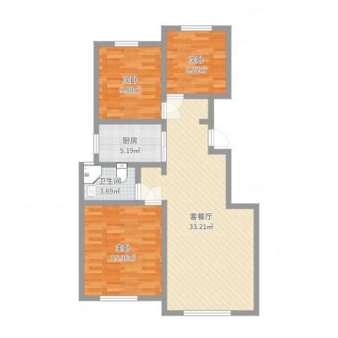 三和翠雍星城3室2厅1卫1厨94.00㎡户型图