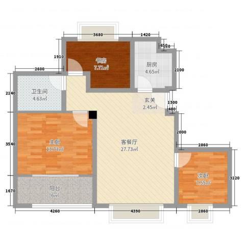 温哥华城・时代公寓3室2厅1卫1厨90.00㎡户型图