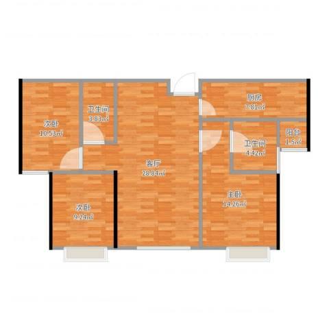 融创中央学府别墅3室1厅2卫1厨101.00㎡户型图