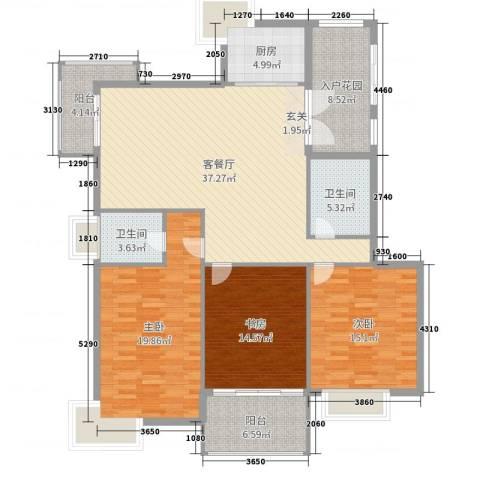 清江华府3室2厅2卫1厨150.00㎡户型图