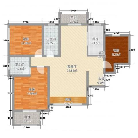 紫薇东进3室2厅2卫1厨126.00㎡户型图
