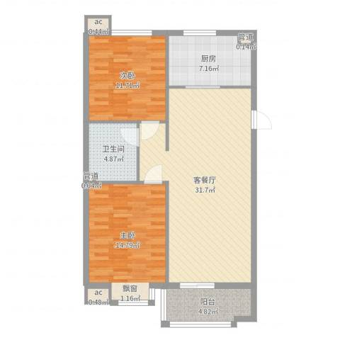 达润时代逸城五期2室2厅1卫1厨95.00㎡户型图