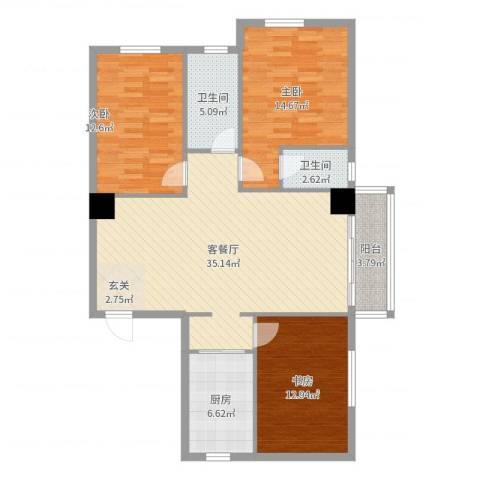 湖北黄石东方华庭3室2厅2卫1厨117.00㎡户型图