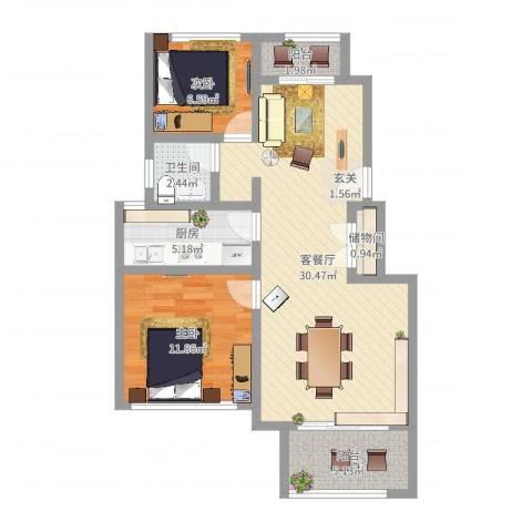 嘉善大众湖滨花园2室2厅1卫1厨95.00㎡户型图