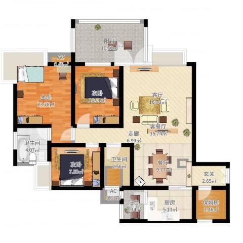 森岭居3室2厅2卫1厨122.00㎡户型图