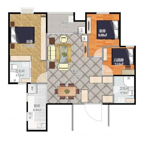 世家英伦3室1厅2卫1厨111.00㎡户型图