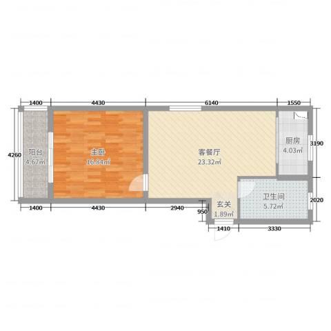 王金更小区1室2厅1卫1厨56.00㎡户型图