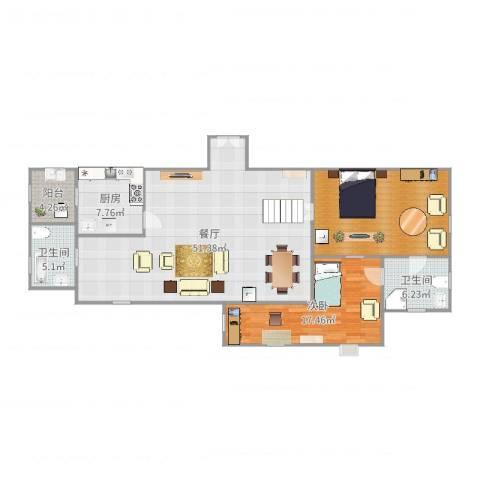 太湖旅游度假区梅东片02-70号地块1室1厅2卫1厨142.00㎡户型图