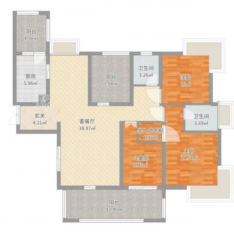 雅阁花园3室2厅2卫1厨140.00㎡户型图