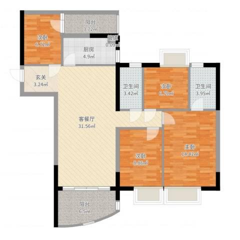 华景新城芳满庭园4室2厅2卫1厨114.00㎡户型图