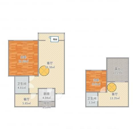 海天馨苑通鑫园2室3厅2卫1厨133.00㎡户型图