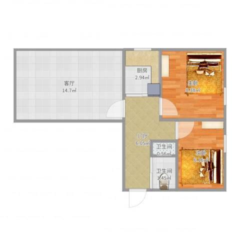 左家庄北里2室1厅2卫1厨50.00㎡户型图