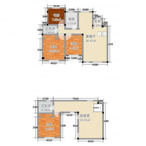 联投国际城4室2厅2卫1厨164.00㎡户型图