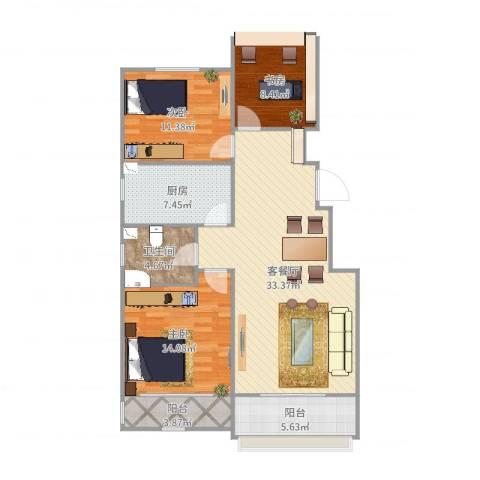 和谐家园3室2厅1卫1厨115.00㎡户型图