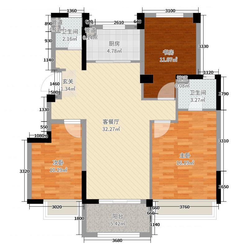 优步花园108.00㎡锦致户型3室3厅2卫1厨