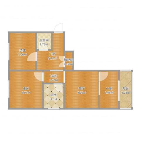 民旺园12--1-5012室1厅1卫1厨58.00㎡户型图